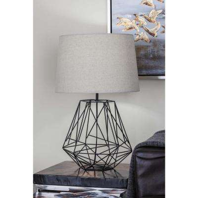25 in. Modern Copper-Finished Iron Wire Asymmetrical Table Lamp