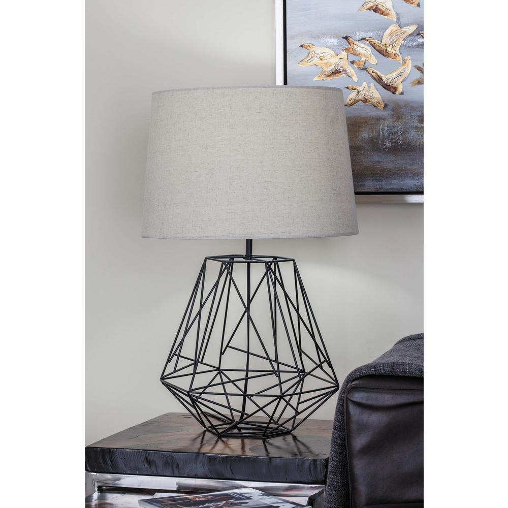 25 in. Modern Copper-Finished Iron Wire Asymmetrical Table Lamp ...
