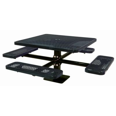 46 in. Diamond Black Commercial Park Surface Mount Square Table