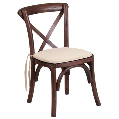 Mahogany Brown Wood Accent Chair