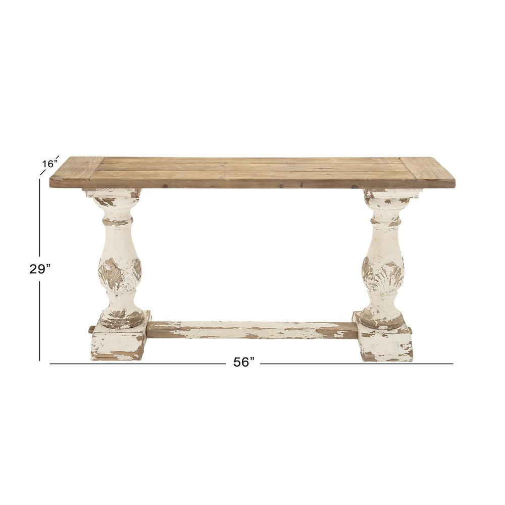 Litton lane distressed white console table 14840 the home depot