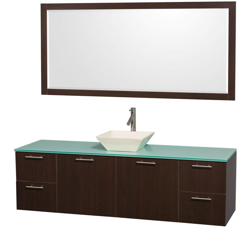 Amare 72 in. Vanity in Espresso with Glass Vanity Top in Aqua and Bone Porcelain Sink