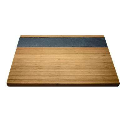 11.88 in. W x 15.74 in. L x .63 in. H Bamboo and Slate Cheese Serving Tray