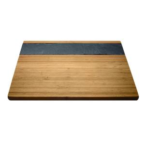 Epicureanist 11.88 inch W x 15.74 inch L x .63 inch H Bamboo and Slate Cheese Serving Tray by Epicureanist