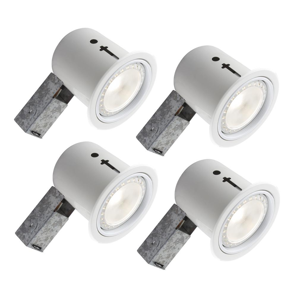 5 In White Recessed Led Lighting Kit With Par30 Bulb Included 4 Pack