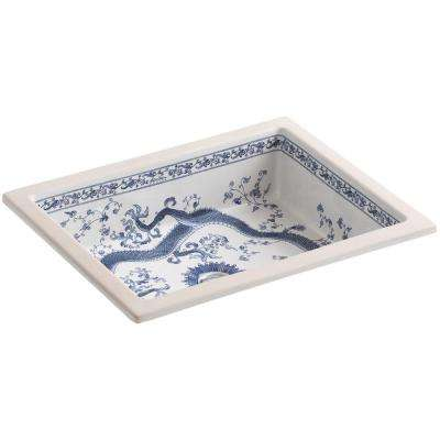 Kathryn Vitreous China Undermount Bathroom Sink in White with Imperial Blue Design