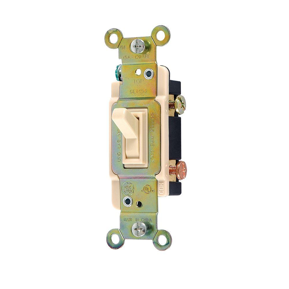 GE 15-Amp 120-Volt 3-Way Household Toggle Switch - Ivory