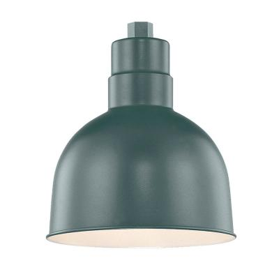 R Series 1-Light 10 in. W Satin Green Outdoor Bowl Shade Pendant