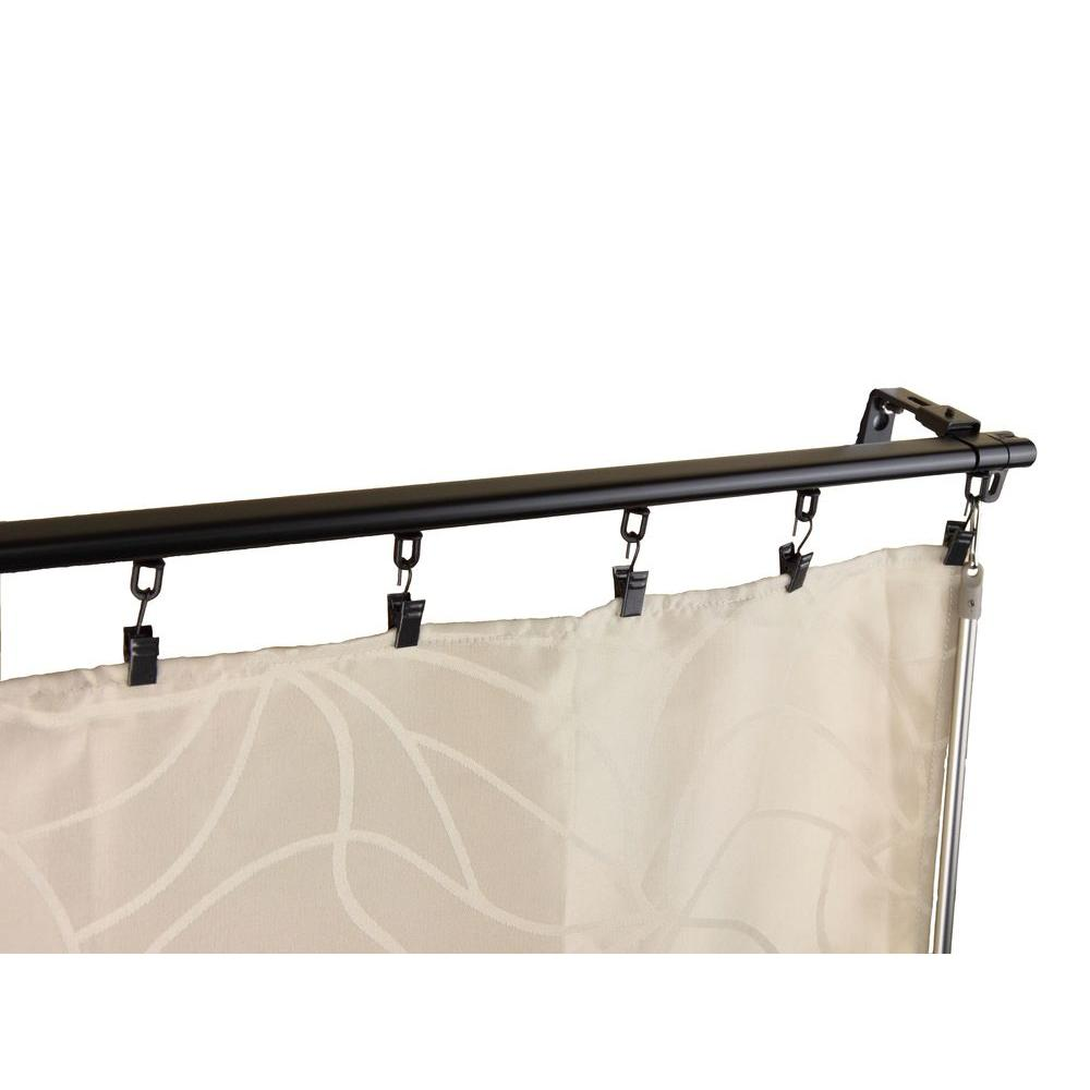 Rod Desyne 48 in. - 84 in. Armor Adjustable Baton Draw Track Traverse Curtain Rod Set in Black