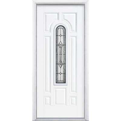 36 in. x 80 in. Providence Center Arch Left Hand Inswing Primed White Smooth Fiberglass Prehung Front Door w/ Brickmold