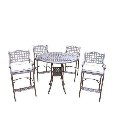 Elite 5-Piece Patio Bar Set with Solid Cushions