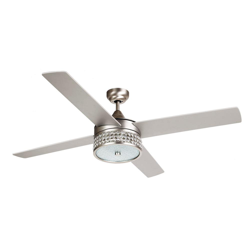 Parrot Uncle Cason 52 In Indoor Satin Nickel Downrod Mount Crystal Chandelier Ceiling Fan With Light Kit And Remote Control F6209110v The Home Depot