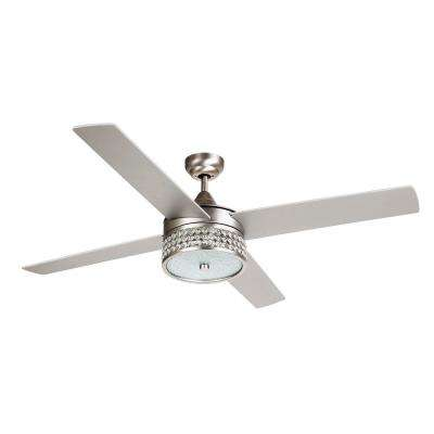 Cason 52 in. Indoor Satin Nickel Downrod Mount Crystal Chandelier Ceiling Fan with Light Kit and Remote Control