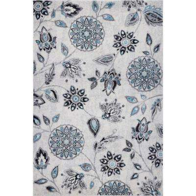 Nightingale Floral Area Rug (8' x 10') in Turquoise