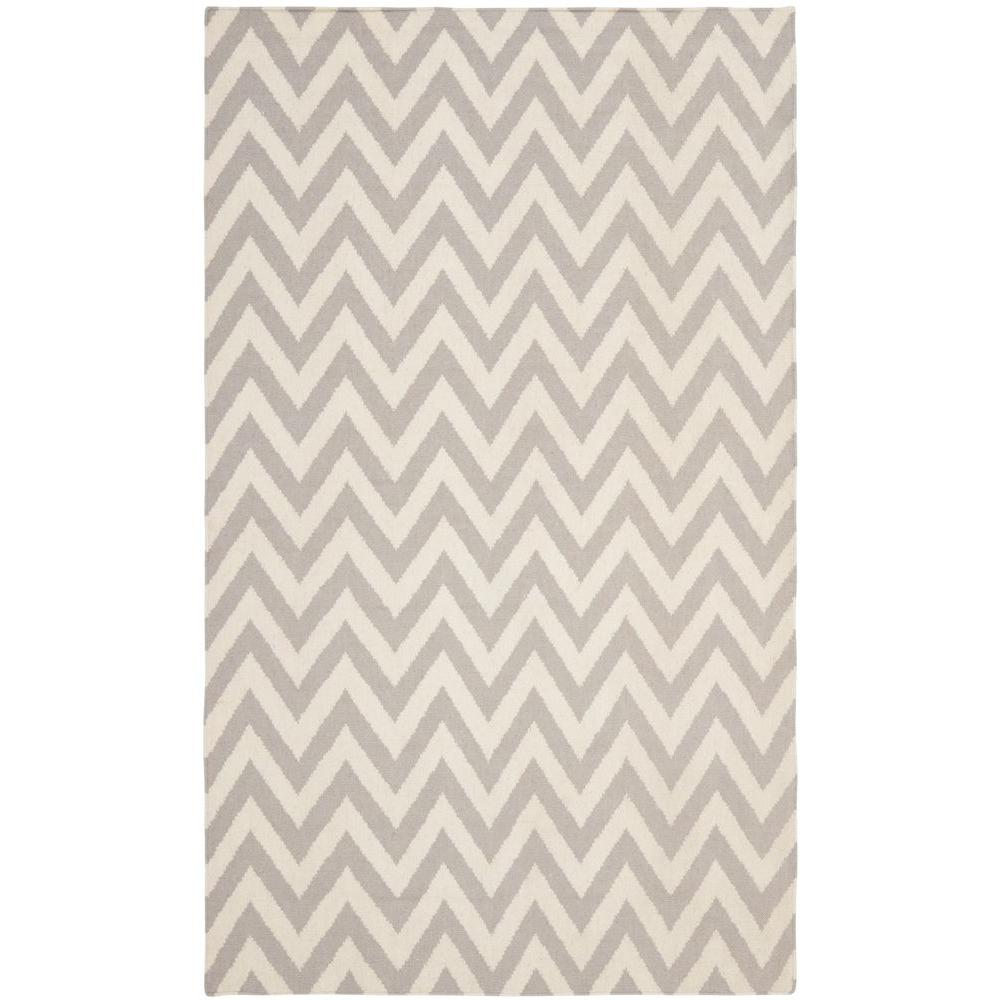 Dhurries Grey/Ivory 8 ft. x 10 ft. Area Rug