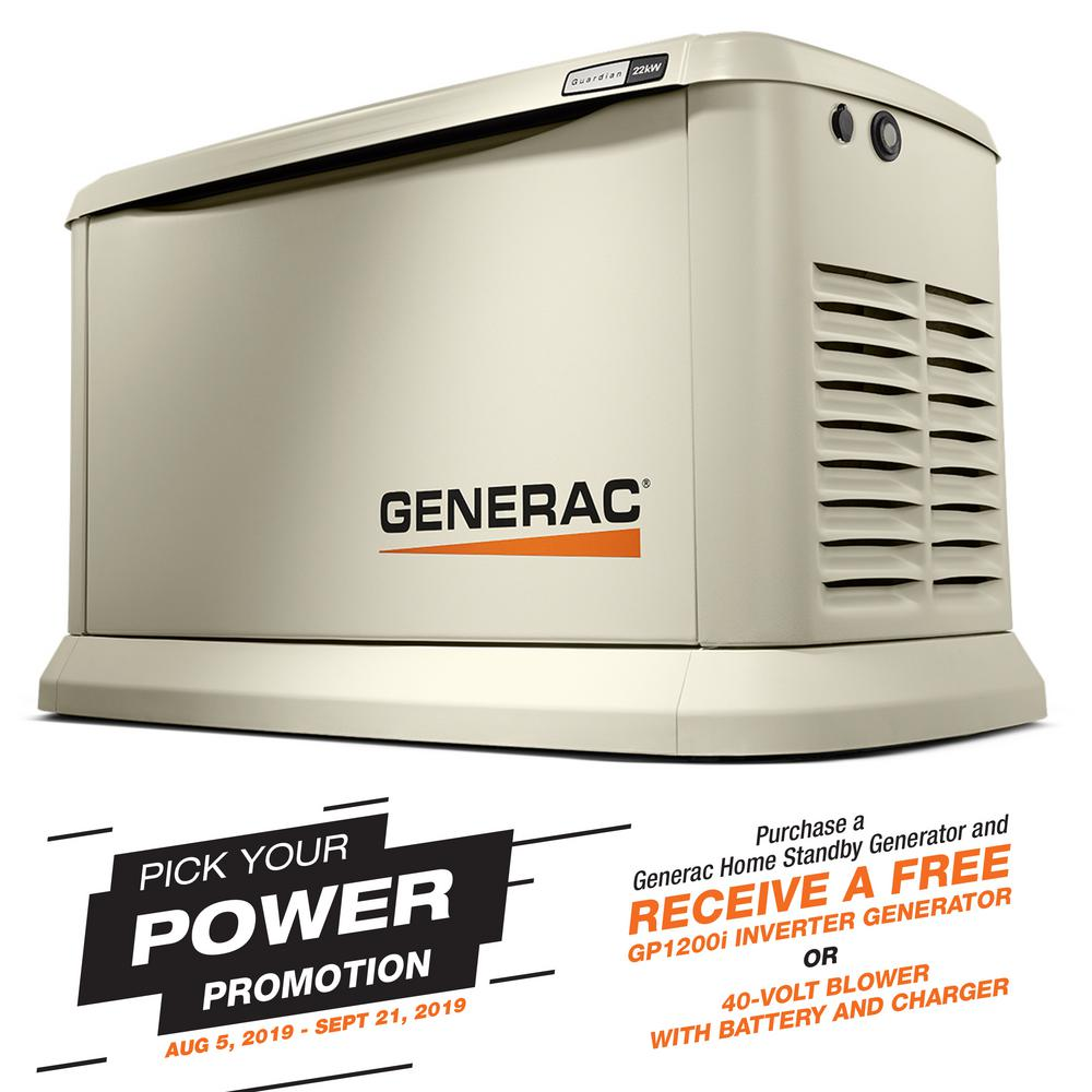 Generac Guardian Series 22000-Watt (LP)/19500-Watt (NG) Air-Cooled Standby  Generator with Wi-Fi