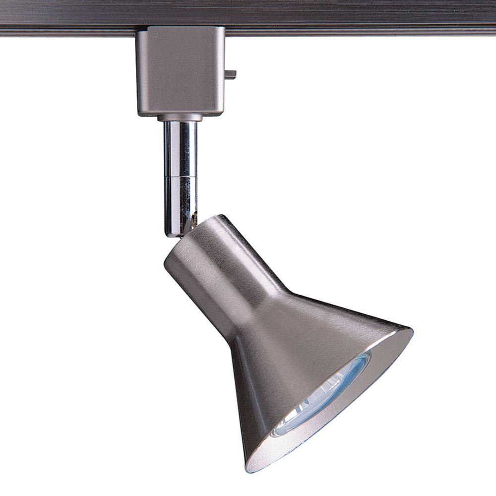 Series 17 Line-Voltage GU-10 Satin Nickel Track Lighting Fixture with Cone