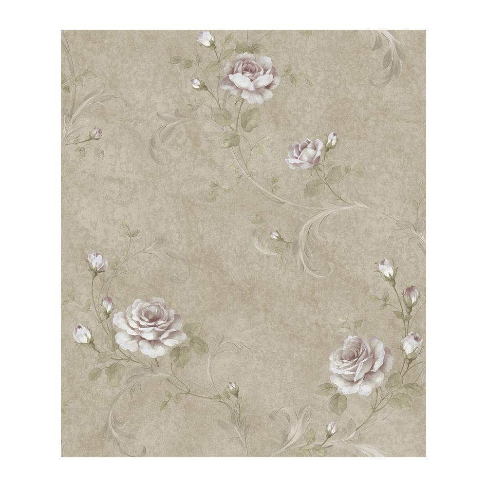 Gracie Metal Floral Scroll Wallpaper