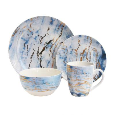 16-Piece Blue/Gold Marble Dinnerware Set