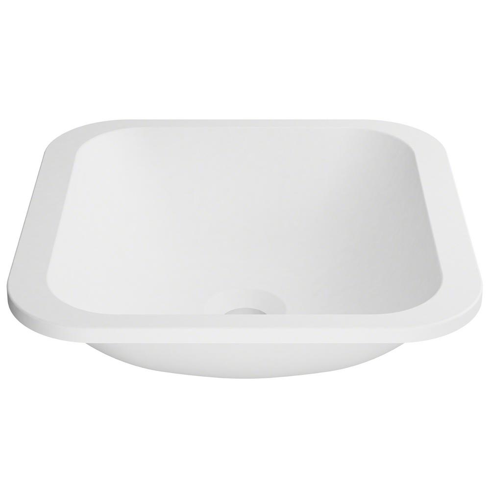 Natura 14.6 in. Solid Surface Undermount Sink Basin in White