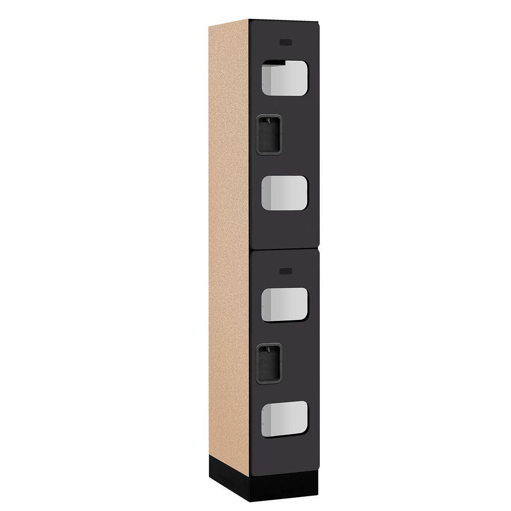 Salsbury Industries S-32000 Series 12 in. W x 76 in. H x 18 in. D 2-Tier See-Through Designer Wood Locker in Black
