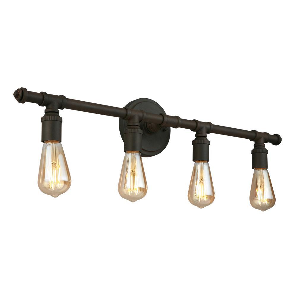 Rivertown 30 in. 4-Light Rustic Bronze Vanity Light