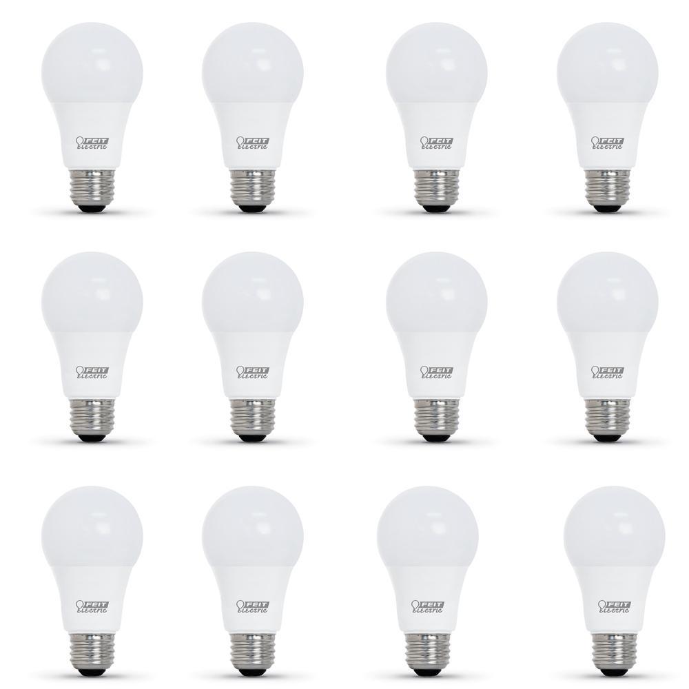 60-Watt Equivalent Bright White A19 LED CEC Title 24 Compliant 90+ CRI Garage Door Opener Light Bulb (12-Pack)