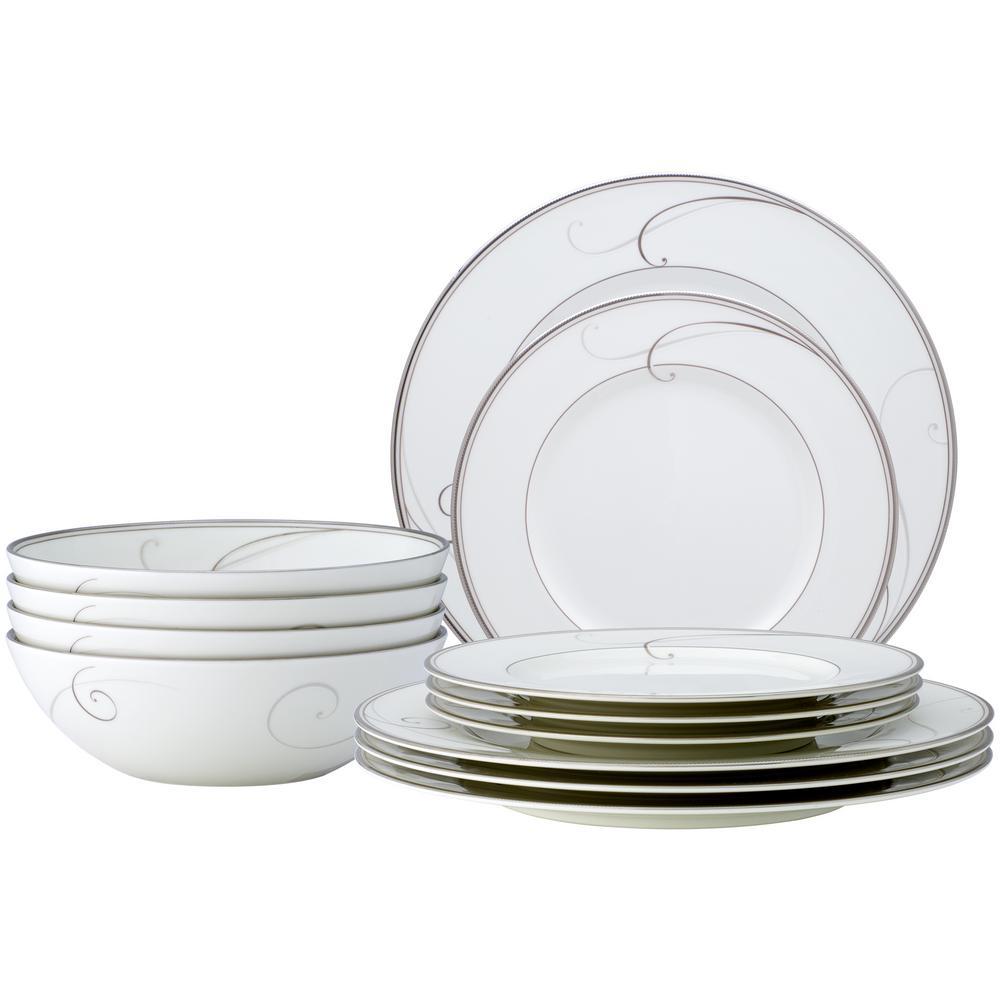 12-Piece Platinum Wave White Porcelain Formal Dinnerware Set (Service for 4)