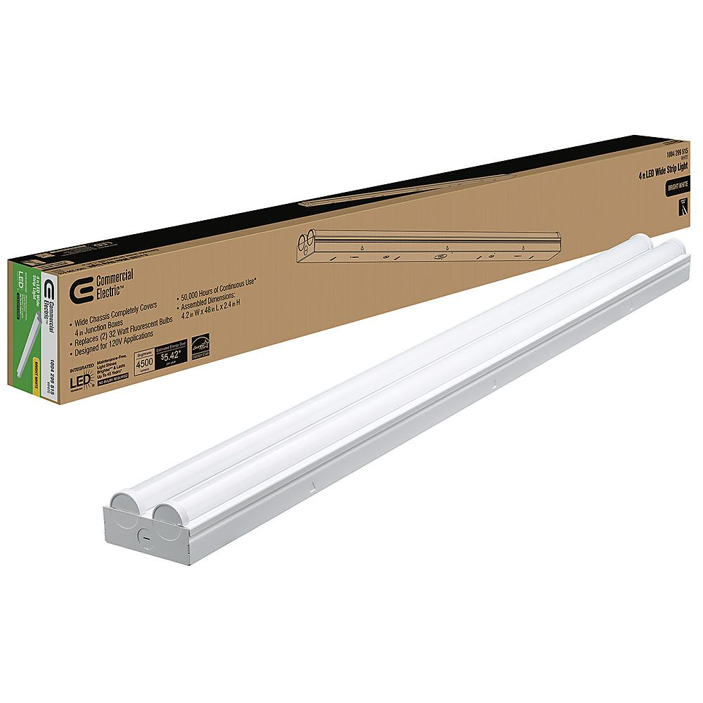 COMMERCIALELECTRIC Commercial Electric 4 ft. 225-Watt Equivalent Integrated LED White Strip Light Fixture 4000K Bright White High Output 4500 Lumens