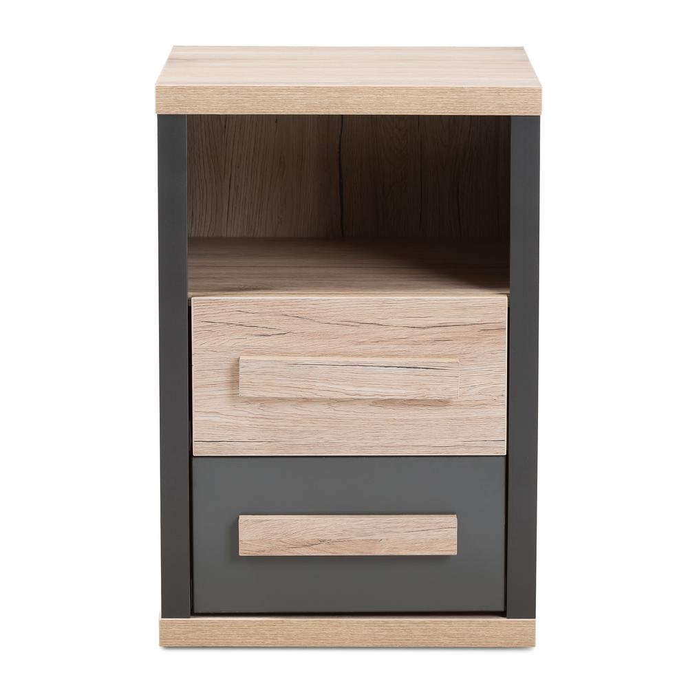Pandora 2-Drawer Dark Grey/Oak Light Brown Nightstand