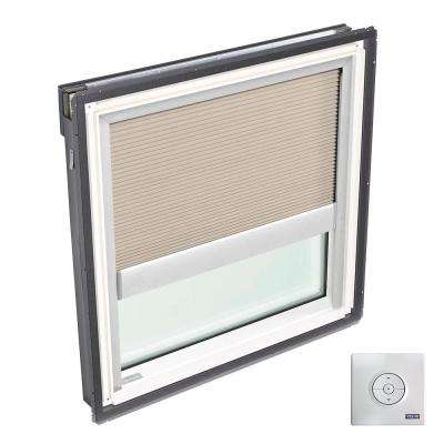 22.5 in. x 22.94 in. Fixed Deck-Mount Skylight, Laminated LowE3 Glass, Classic Sand Solar Powered Light Filtering Blind