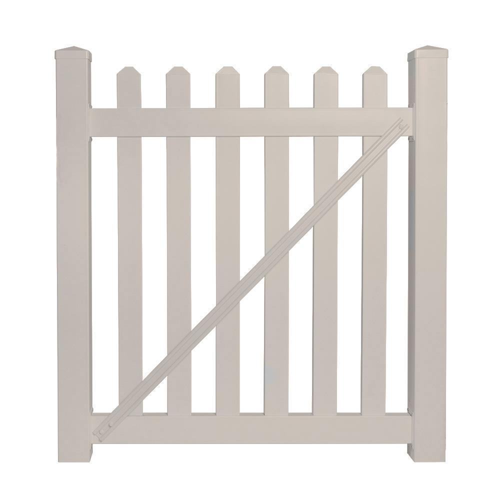 Everbilt Anti Sag Gate Kit 15469 The Home Depot Addition Cantilever Sliding On Electric Fence Gates With Diagram Chelsea 4 Ft W X H Tan Vinyl Picket