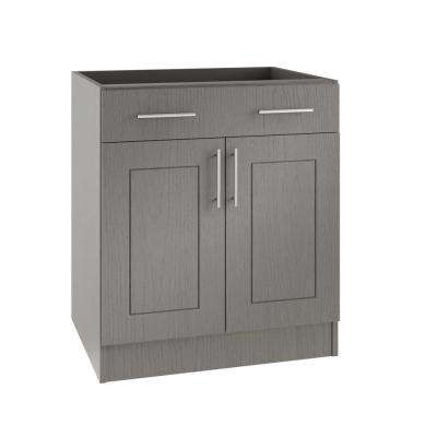 Assembled 24x34.5x24 in. Palm Beach Open Back Outdoor Kitchen Base Cabinet with 2 Doors and 1 Drawer in Rustic Gray