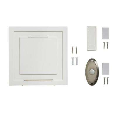 White 85 dB Wireless Battery Operated Door Bell Kit with 1-Push Button with Nickel Wireless Door Bell Push Button