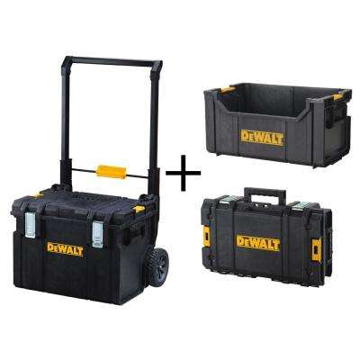 ToughSystem DS450 22 in. 17 Gal. Mobile Tool Box, DS280 Tote Tool Box and DS130 Tool Box Combo Set (3 Components)