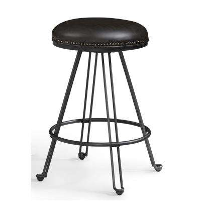 Tarlton 30 in. Dark Grey Metal Backless Bar Stool