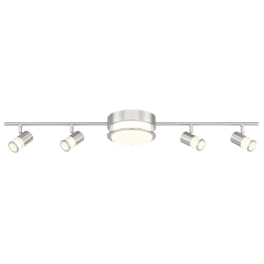 Envirolite 3 44 Ft Brushed Nickel Integrated Led Track Lighting Kit With Flush Mount Ceiling Light And 4 Rotating Heads