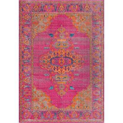 Vintage Medallion Queenie Pink 5 ft. x 7 ft. 5 in. Area Rug