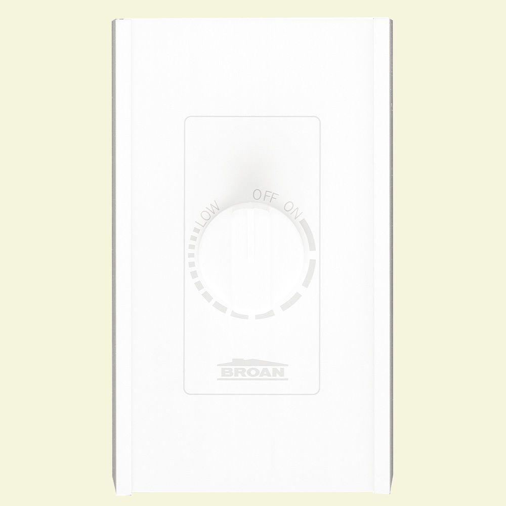 White Electronic Variable Speed Wall Control