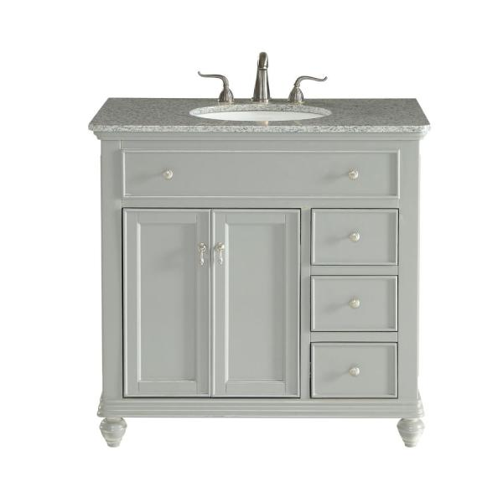 Somerton 36 In Single Bath Vanity W 3 Drawers 1 Shelf 2 Doors Granite Top Light Grey Hdvnt 24672gr The Home Depot
