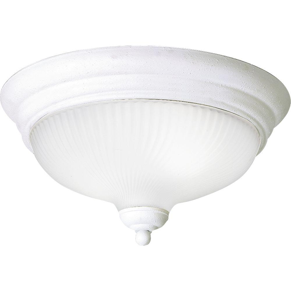Progress Lighting Swirled Glass Collection Textured White 2-light Flushmount-DISCONTINUED
