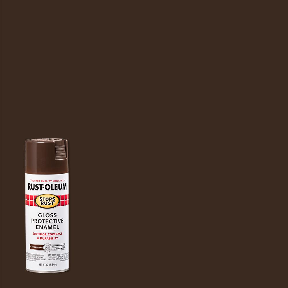 Rust-Oleum Stops Rust 12 oz. Protective Enamel Gloss Leather Brown Spray Paint (6-Pack)