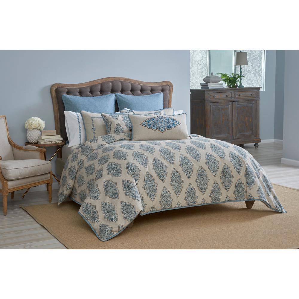 Monroe Aqua Blue King Bed Skirt