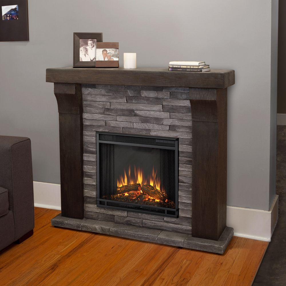 Real Flame Avondale 48 in. Cast Electric Fireplace in Gray Ledgestone