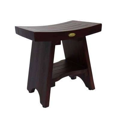Serenity 18 in. Eastern Style Teak Shower Bench Stool with Shelf