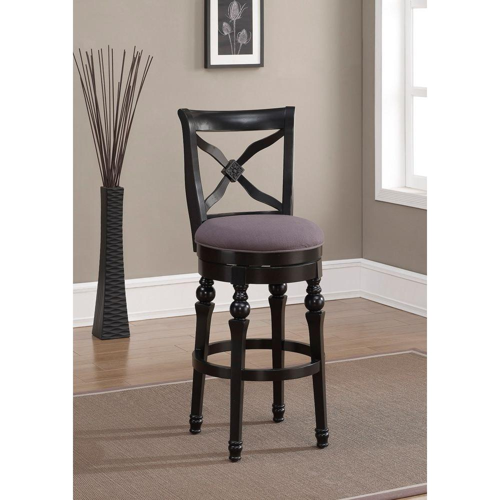 Livingston 30 in. Antique Black Cushioned Bar Stool