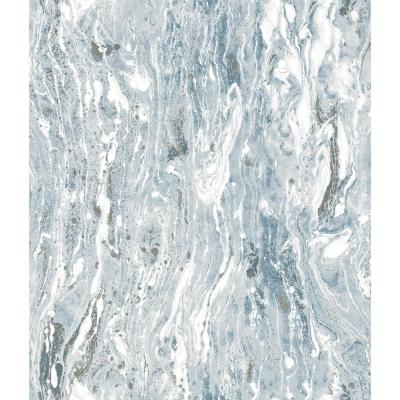 28.18 sq. ft. Blue Marble Seas Peel and Stick Wallpaper
