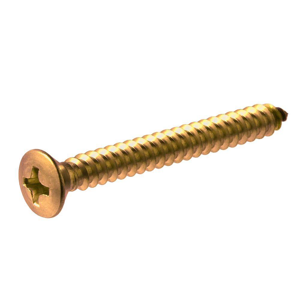 #8 x 1/2 in. Brass Oval Head Phillips Sheet Metal Screw (3-Pack)