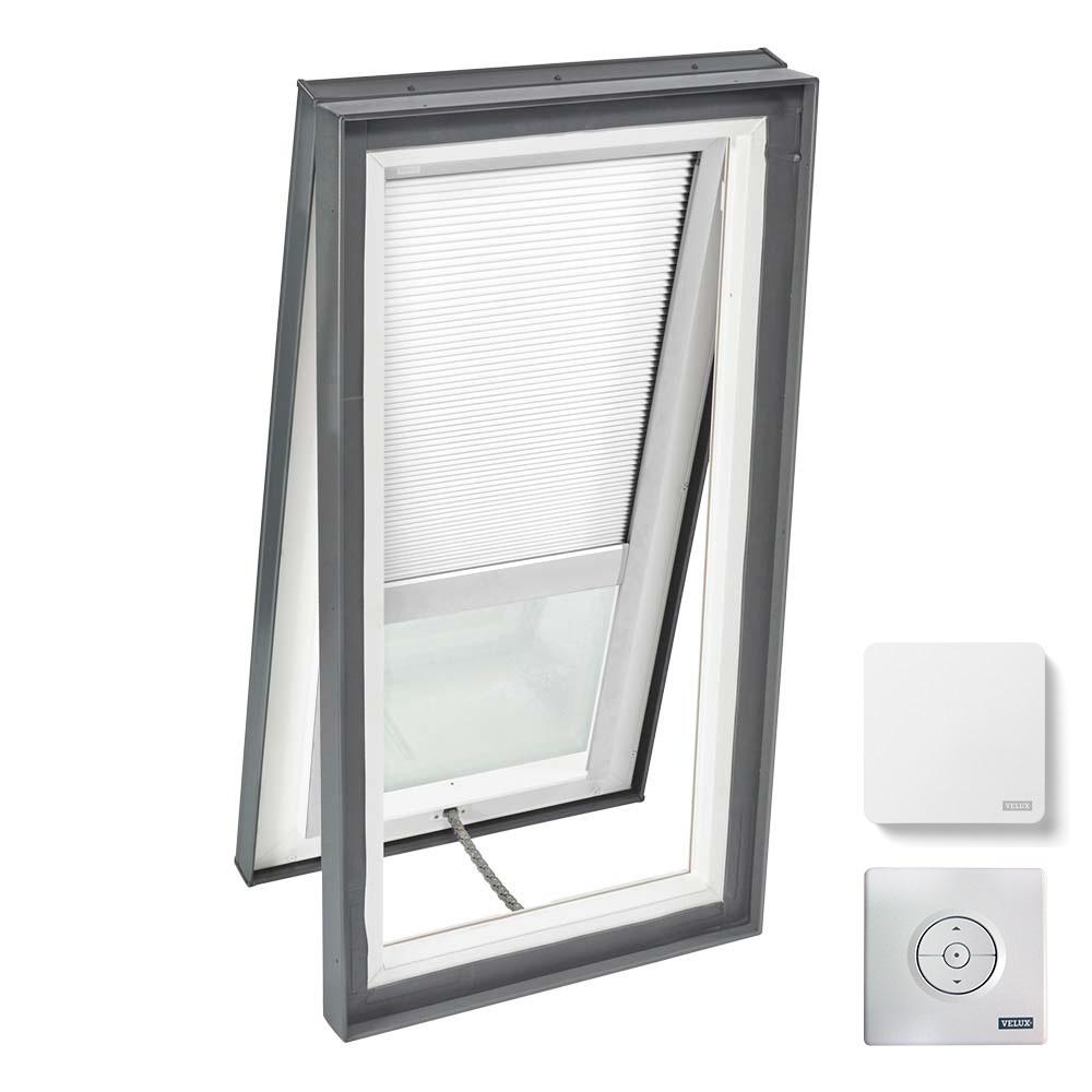 VELUX 22-1/2 in. x 46-1/2 in. Venting Curb Mount Skylight w/ Laminated Low-E3 Glass & White Solar Powered Room Darkening Blind