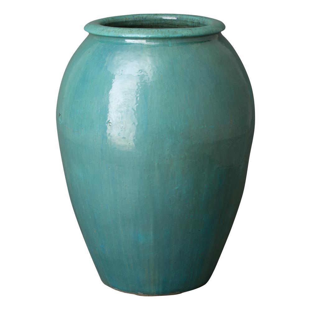 34 in. Large Ceramic Jar/Planter with a Rim